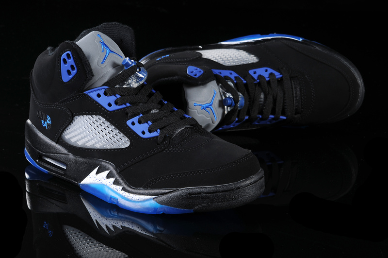 Real Air Jordan 5 Black Blue White