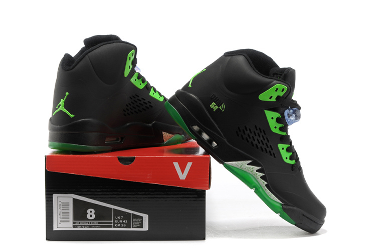 Air Jordan 5 Black Green Shoes