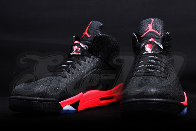 2015 New Jordan 5 Black Red Retro