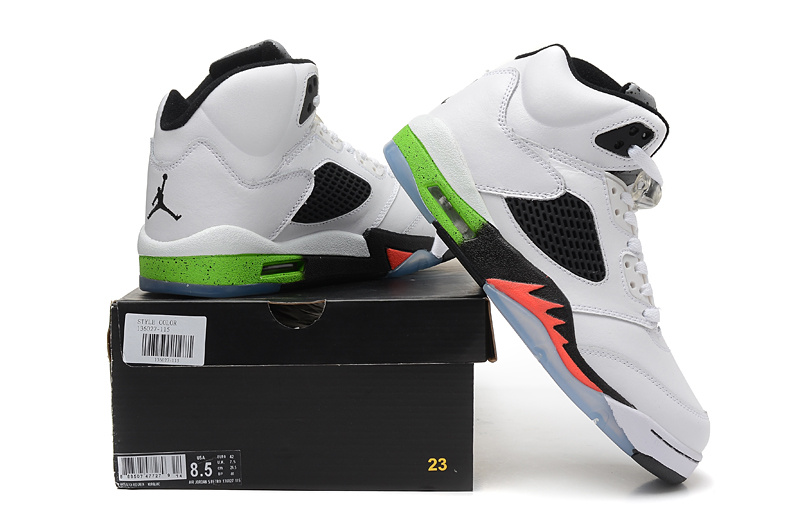 2015 New Air Jordan 5 White Black Green Orange Fire