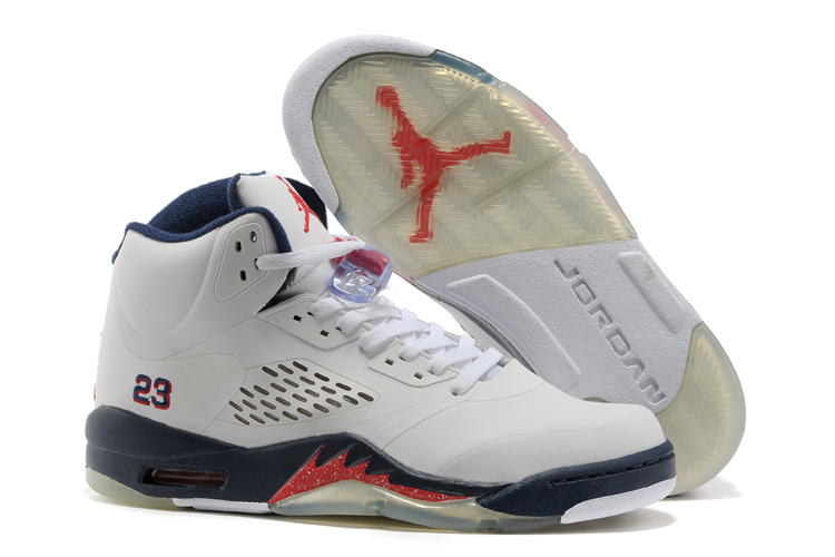 Air Jordan 5 White Blue Fire Red Shoes
