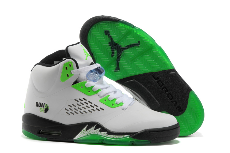 Air Jordan 5 White Green Black Shoes