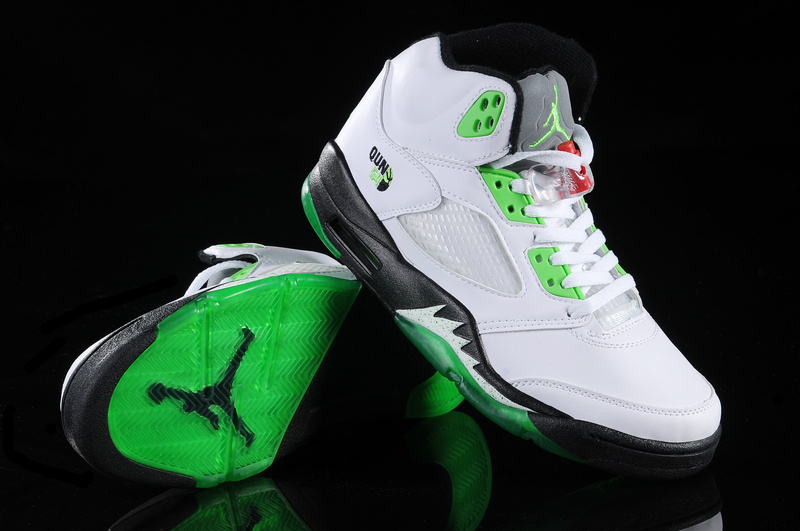 Real Air Jordan 5 White Green White