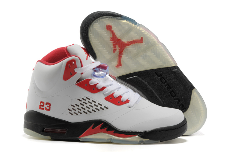 Air Jordan 5 White Red Black Shoes