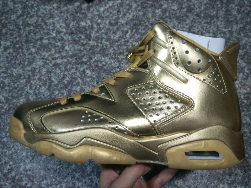 2016 Air Jordan 6 All Gold Shoes