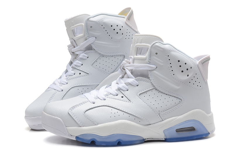 2015 New Jordan 6 All White Light Blue Sole