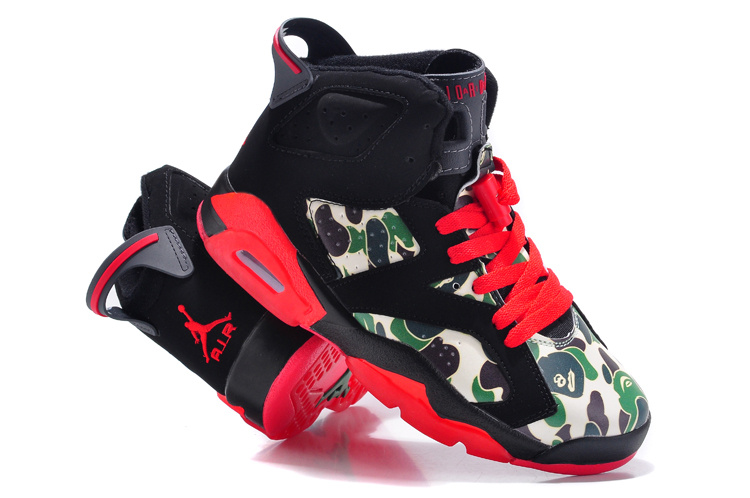 2015 New Jordan 6 Black Red Monkey Head Print Shoes For Women