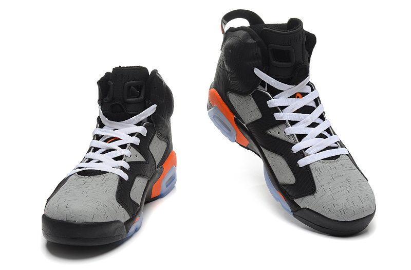 2015 New Jordan 6 Retro Black Grey Orange
