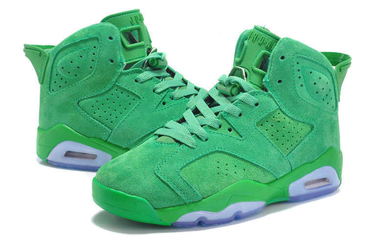 New Women Air Jordan 6 Suede Green Shoes