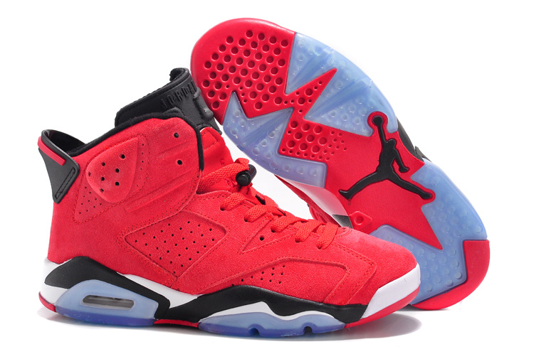 New Women Air Jordan 6 Suede Red Black Shoes