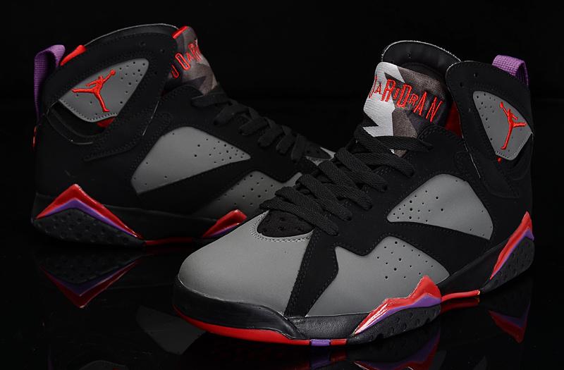 2015 New Jordan 7 Black Grey Red Purple Shoes For Women