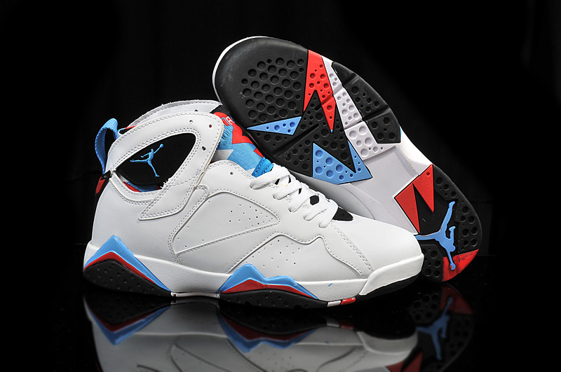 2015 Air Jordan 7 Retro OG White Blue Black Red Shoes