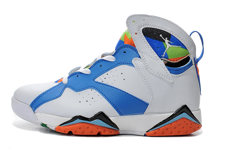 2015 New AirJordan 7 White Blue Orange