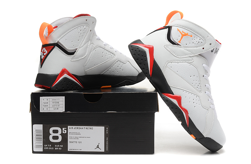 2015 New Jordan 7 Retro White Orange Red Black