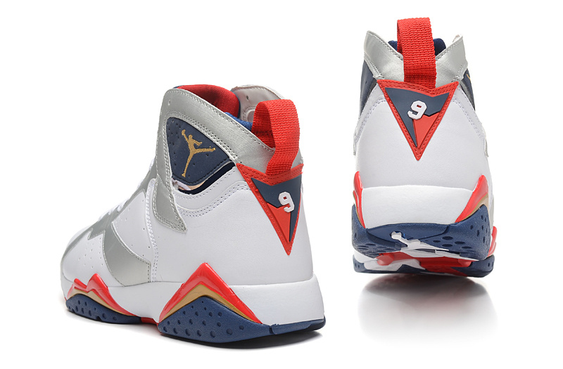 2015 New Jordan 7 White Silver Blue Red