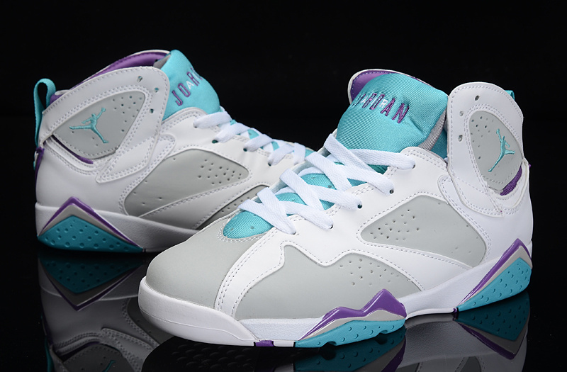 2015 New Air Jordan 7 White Grey Bbaby Blue Purple