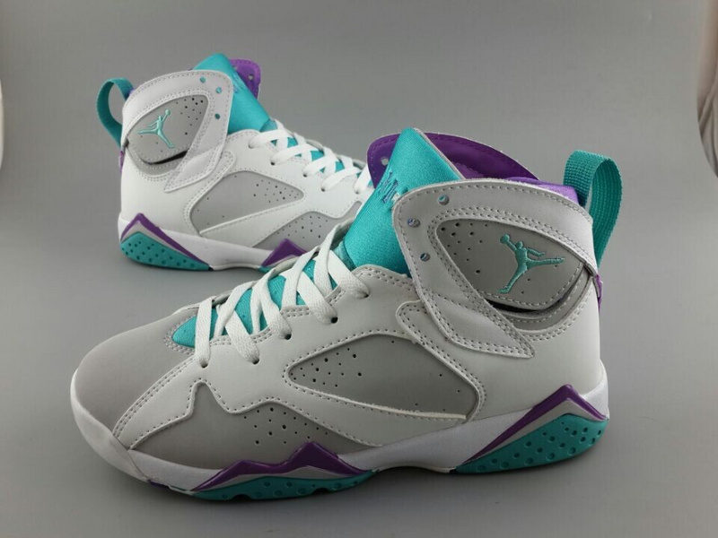 2015 New Jordan 7 White Grey Blue Purple For Women