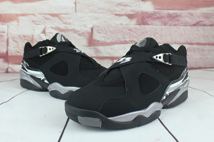 2016 Air Jordan 8 Low Black Silver Shoes