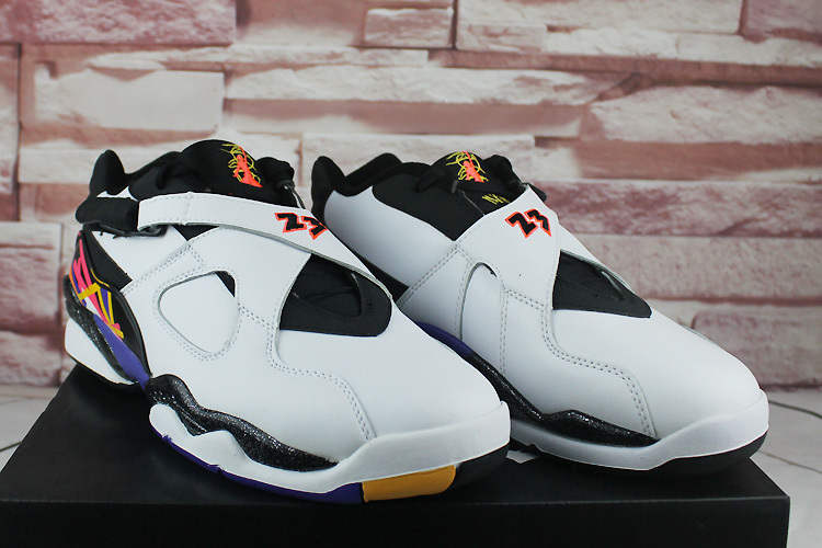 2016 Air Jordan 8 Low White Black Orange Shoes