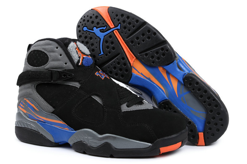 2015 Air Jordan 8 Retro Black Grey Blue Orange Shoes