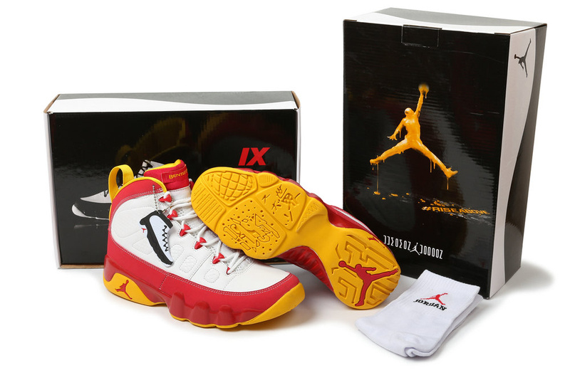 New Air Jordan 9 Hardcover White Red Yellow Shoes