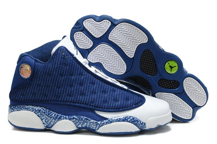 New Arrival Air Jordan Retro 13 Dark Blue White Shoes