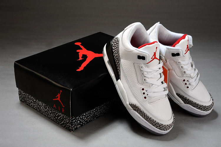 Real Air Jordan Retro 3 White Grey Black Shoes