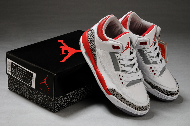 Real Air Jordan Retro 3 White Grey Red Shoes