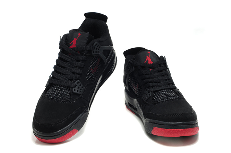 2012 Air Jordan Retro 4 Black Red Logo Shoes