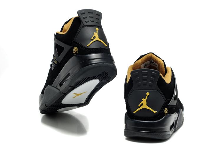 2012 Air Jordan Retro 4 Black White Logo Shoes
