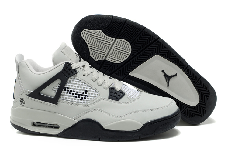 2012 Air Jordan Retro 4 White Black Logo Shoes