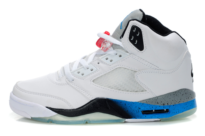 Air Jordan Retro 5 White Black Blue Shoes