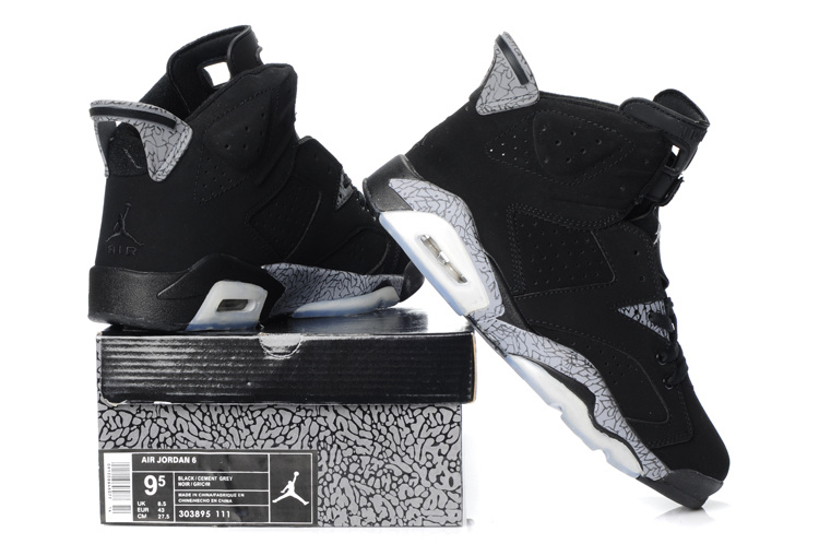 Latest Air Jordan Retro 6 Black Grey Shoes