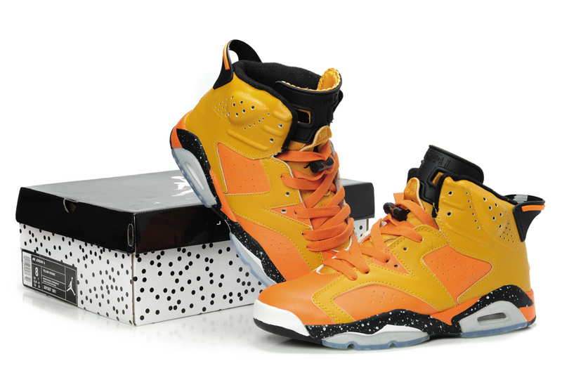 Latest Air Jordan Retro 6 Orange Black Grey Shoes