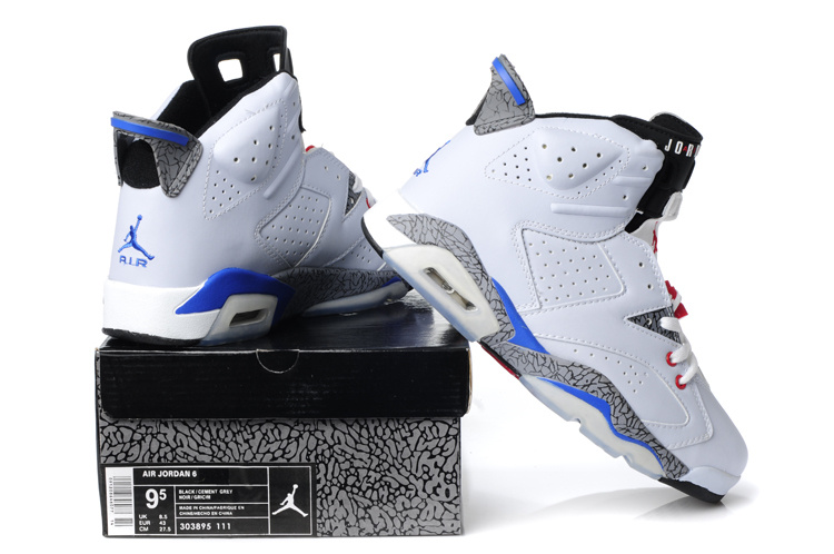 Latest Air Jordan Retro 6 White Cement Blue Red Shoes