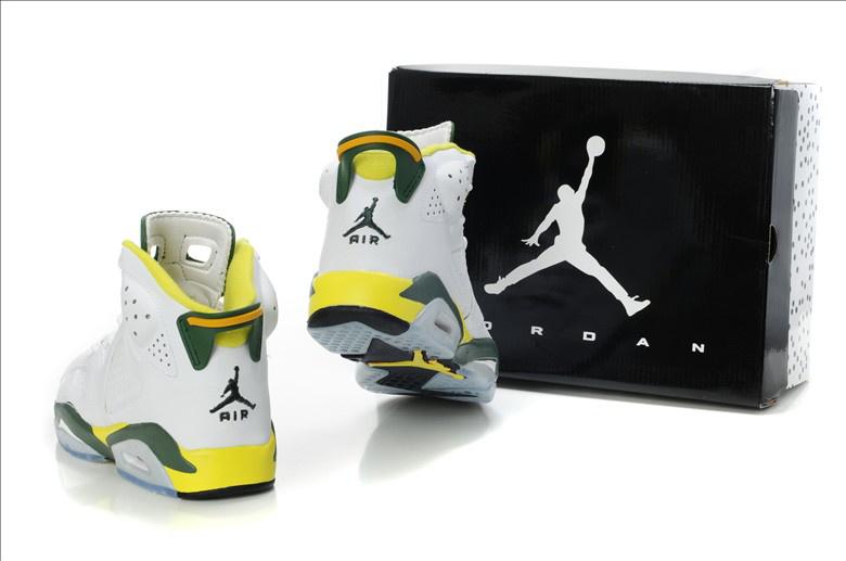 Latest Air Jordan Retro 6 White Yellow Green Shoes