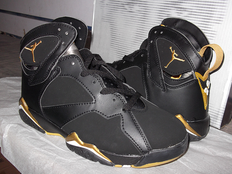2012 Air Jordan Retro 7 Black Gold Shoes