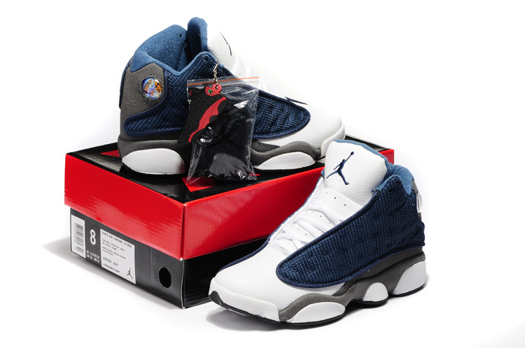 2015 New Jordan 13 White Blue Grey For Women