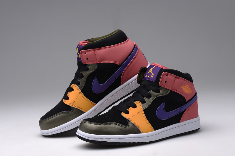 2015 Air Jordan 1 Retro Black Orange Pink Blue Shoes For Women