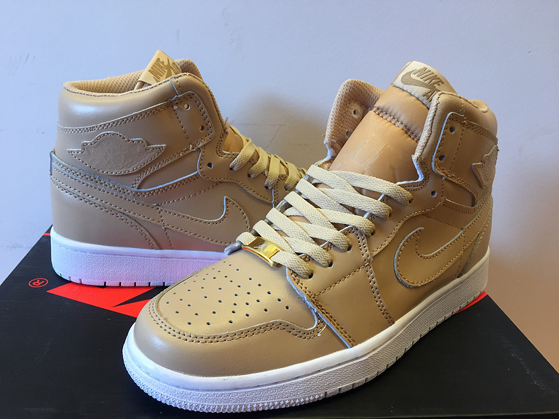Air Jordan 1 Retro Gold Yellow White Shoes
