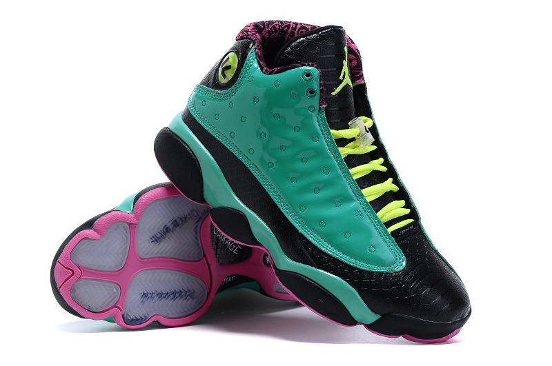 Air Jordan 13 Doernbecher Green Black Pink Shoes