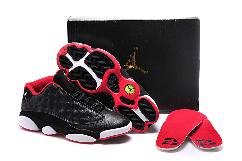 2015 Air Jordan 13 GS Black Red Shoes For Women