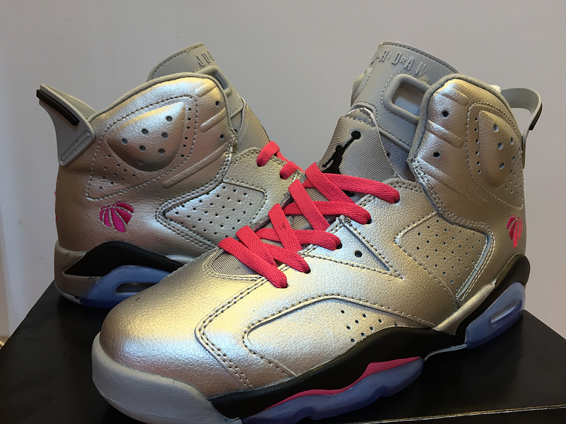 Air Jordan 6 Retro Silver Red Black Shoes