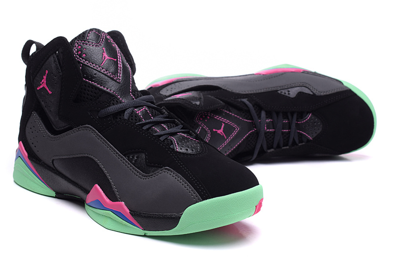 2015 Air Jordan 7 Shoes Black Pink Green For Women