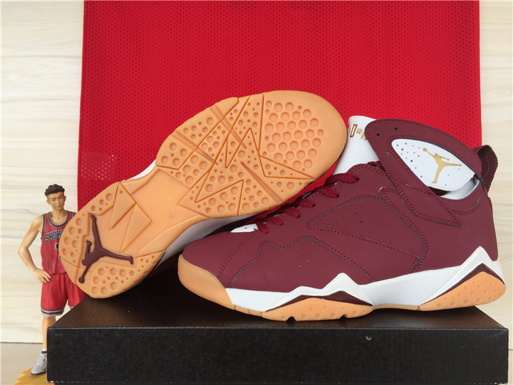 2015 Air Jordan 7 Retro Wine Red White Orange
