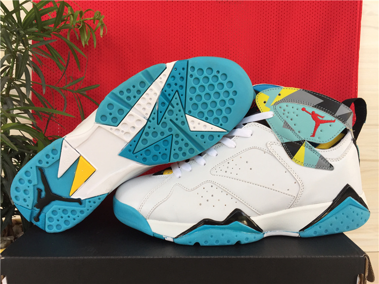 2015 Air Jordan 7 Shoes White Green Yellow