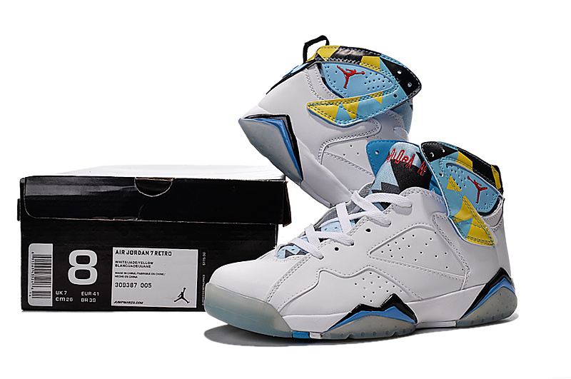 2015 New Air Jordan 7 Shoes White Baby Blue Yellow