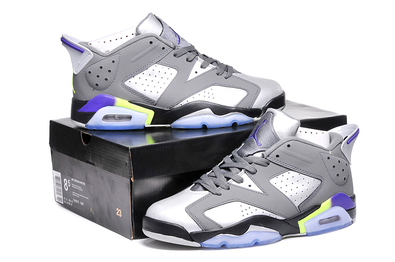2015 Air Jordan 6 Shoes Black Grey Purple