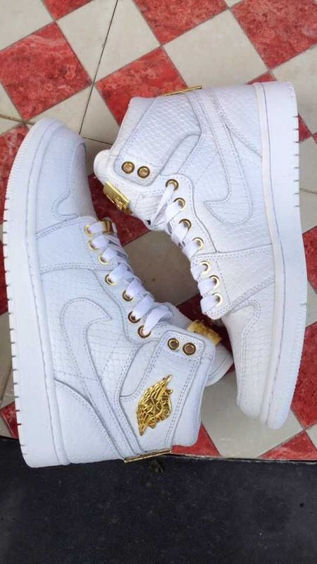 2015 Air Jordan 1 Shoes All White Gold