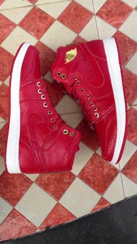 2015 Air Jordan 1 Shoes Hot Red Gold